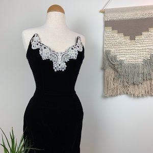 Vintage Velvet Form Fitting Formal Strapless Dress